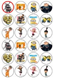 24 x Despicable Me 2 edible rice wafer paper bun cup cake top toppers